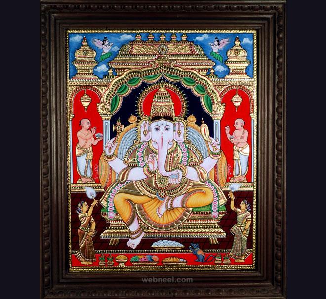 tanjore painting ganesh by vinayakagallery