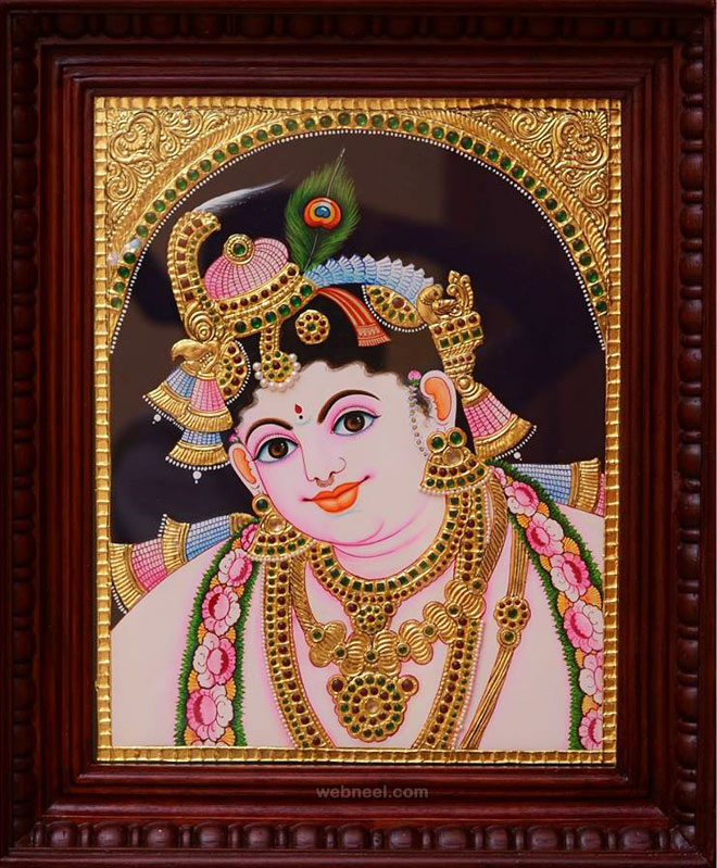 tanjore painting krishna by tanjorestyles