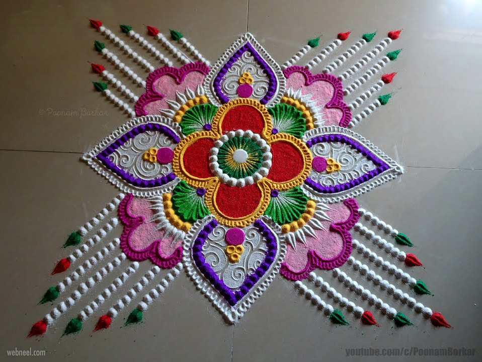 rangoli design colorful by poonam borkar