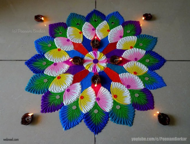 rangoli design colorful by poonam borkar