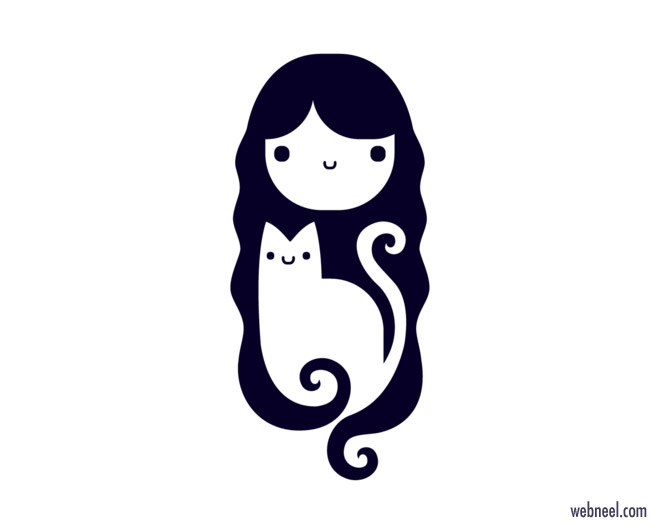 cat logo design girl by tamar ziri