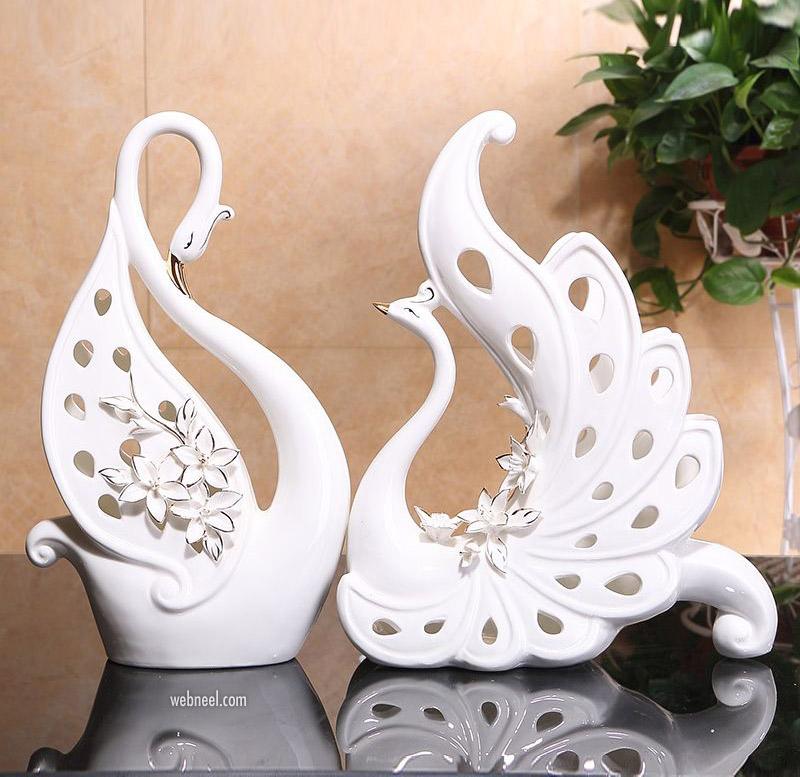 ceramic sculpture peacock european design
