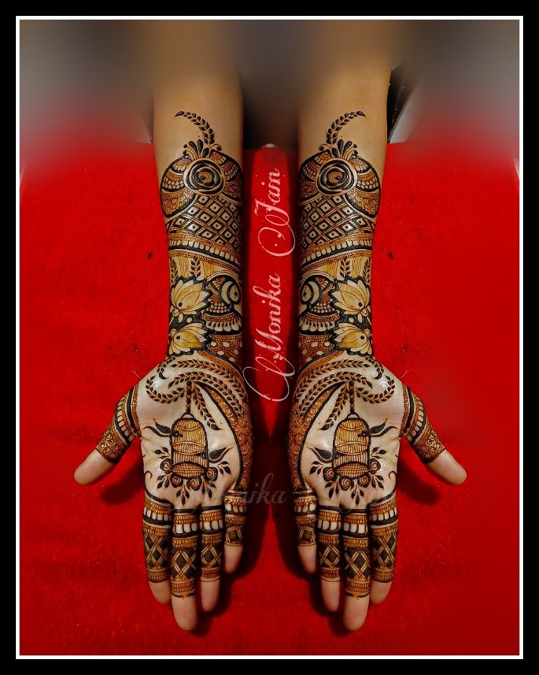 mehndi design color full hand by monika jain