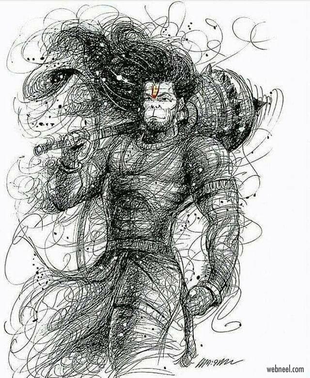 pencil drawing hanuman