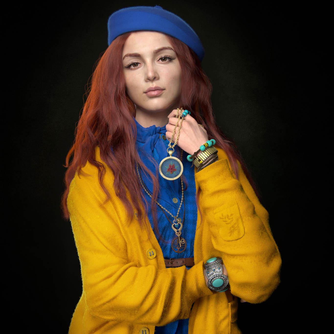3d model girl in yellow