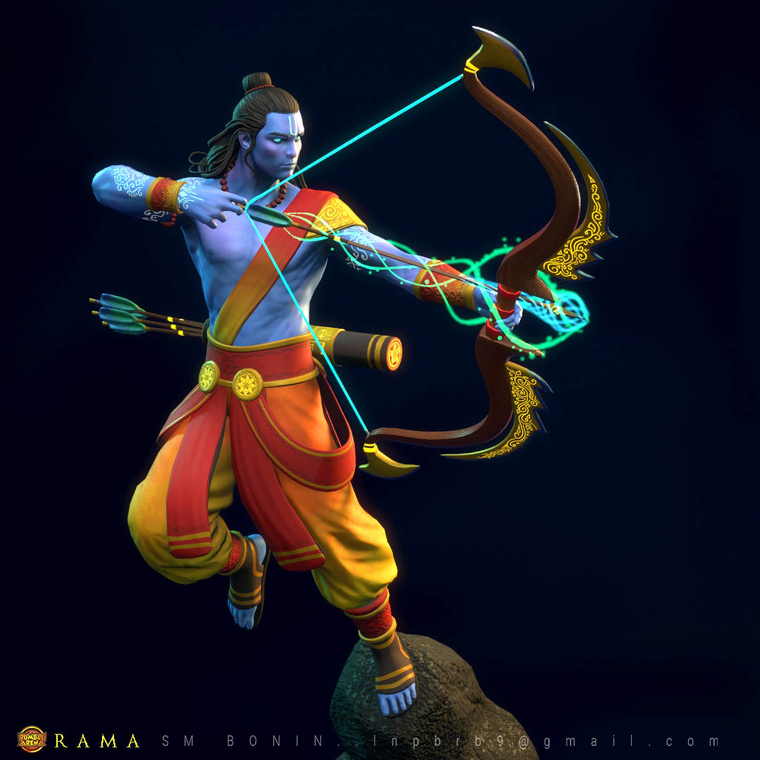 3d model lord rama color