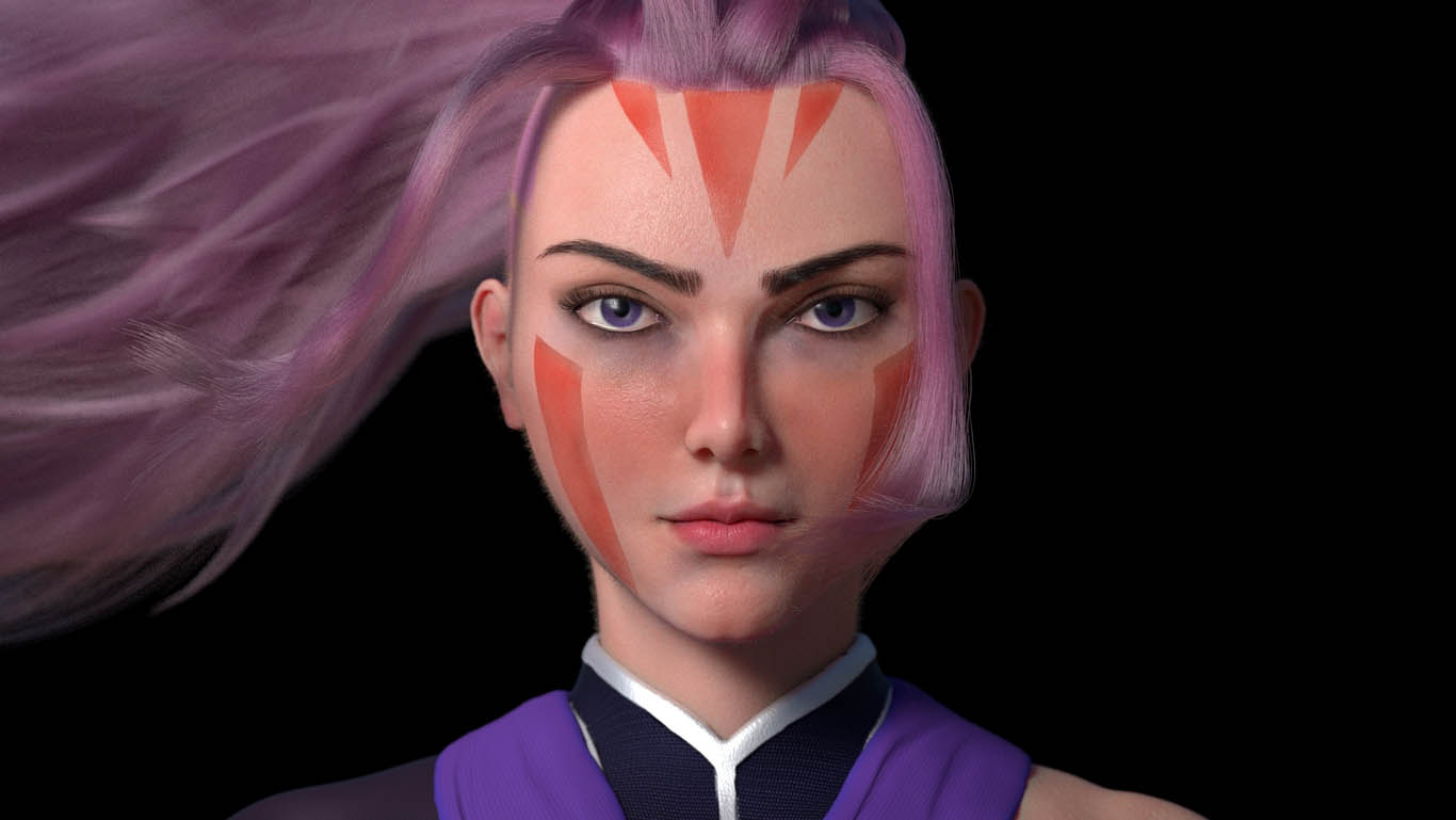 3d model purple hair