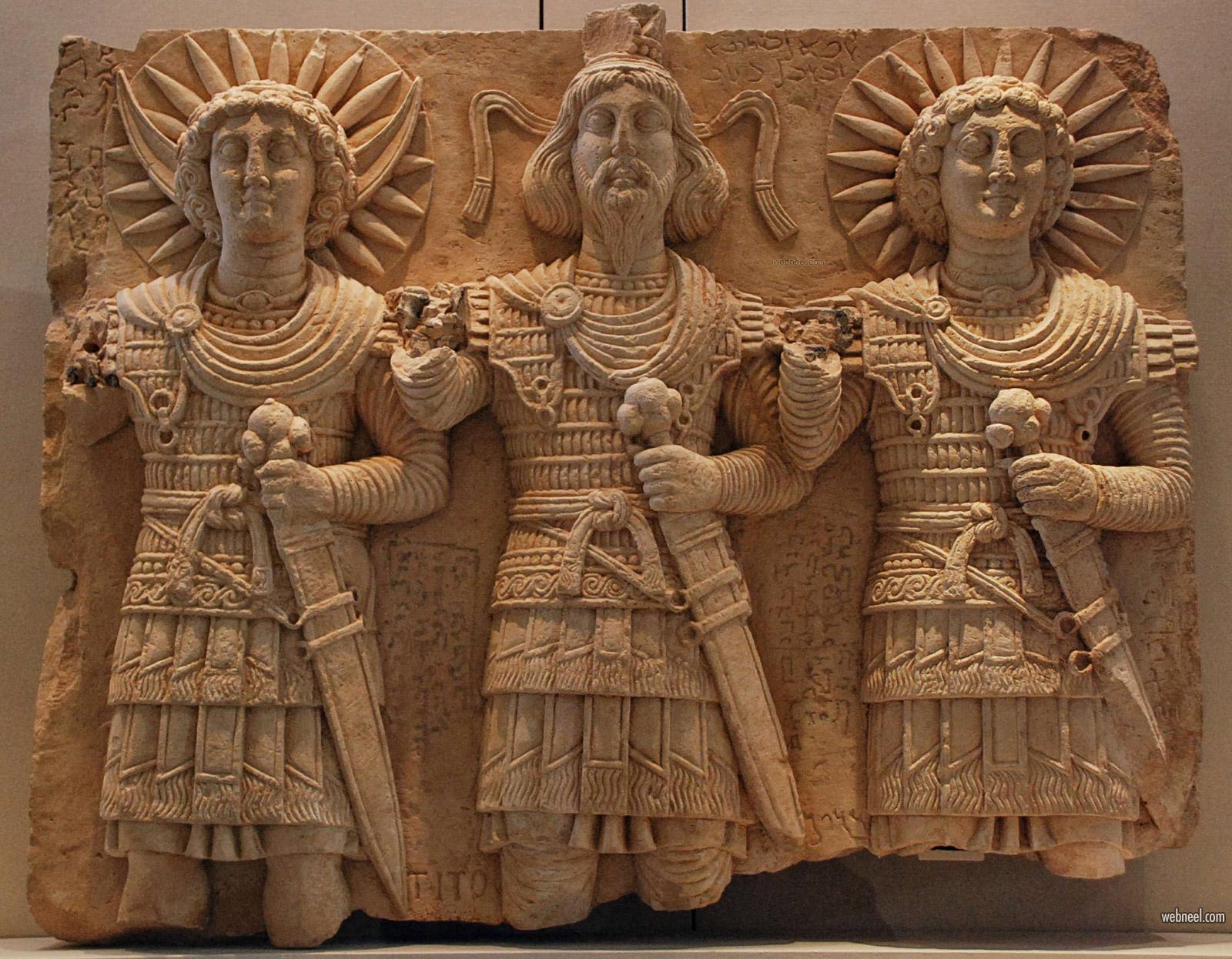 high relief sculpture stone palmyra baalshamin god paris