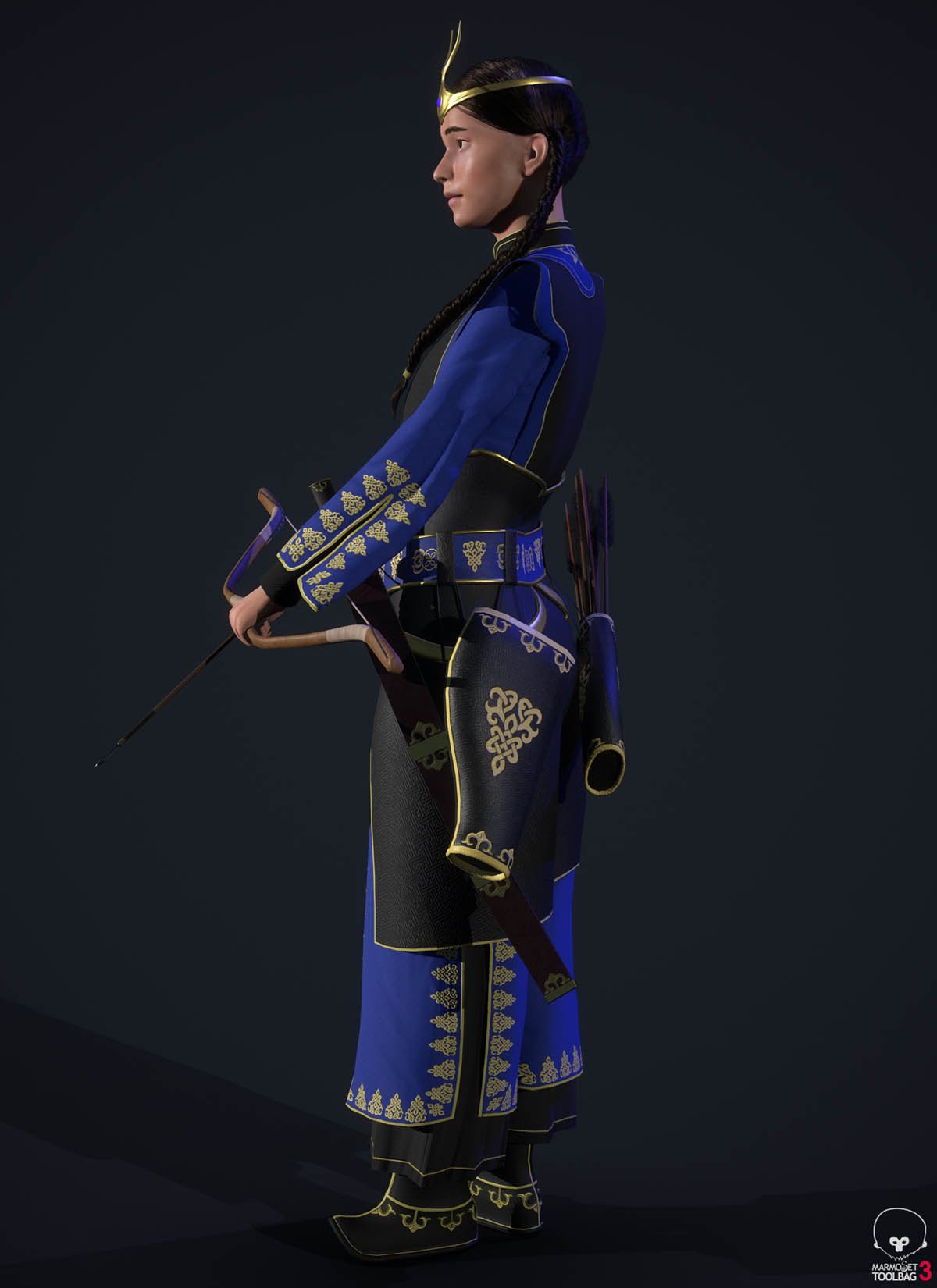 3d model blue yesui warrior side pose
