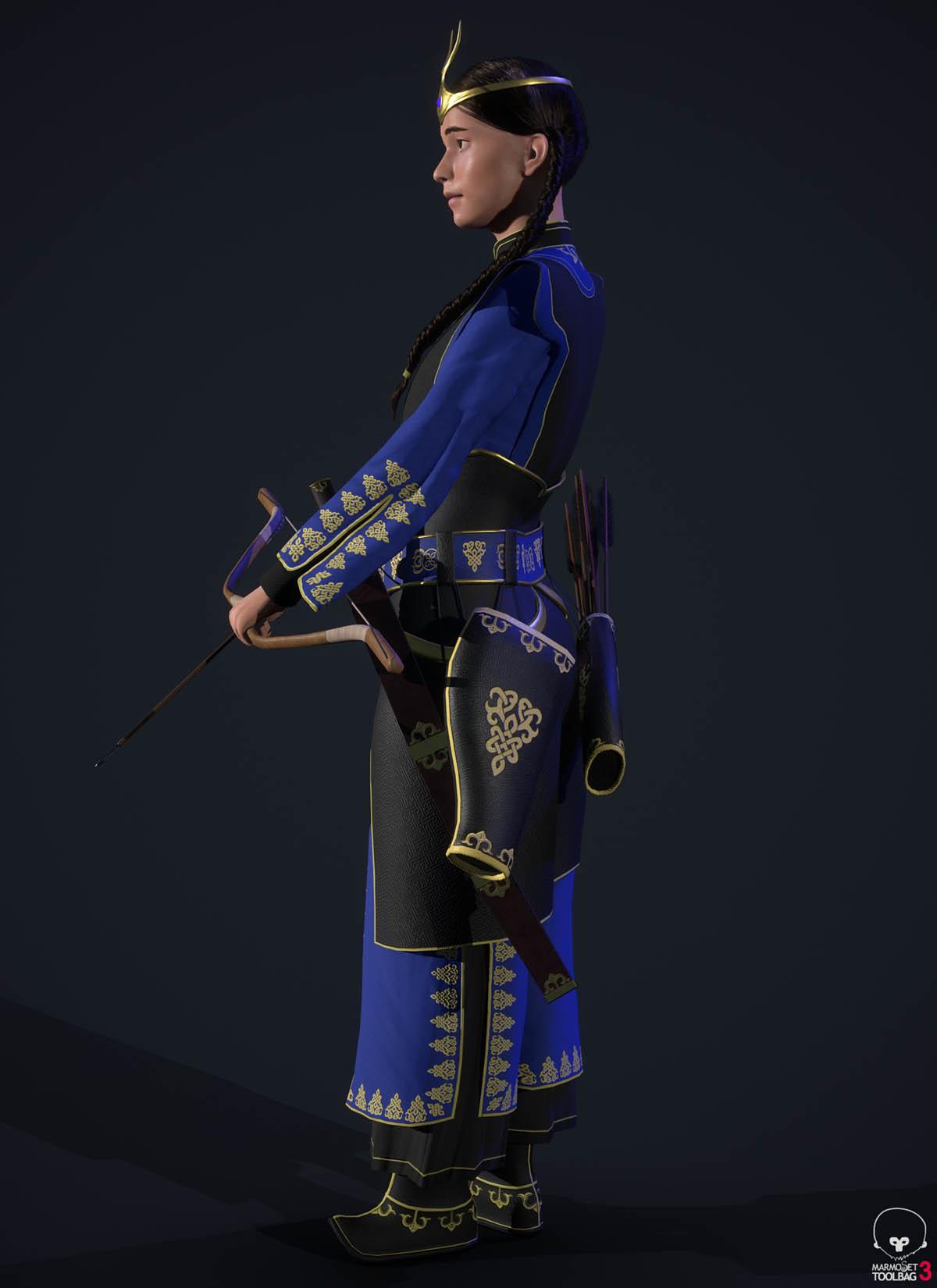 3d model blue yesui warrior side pose by enkhbayarldr