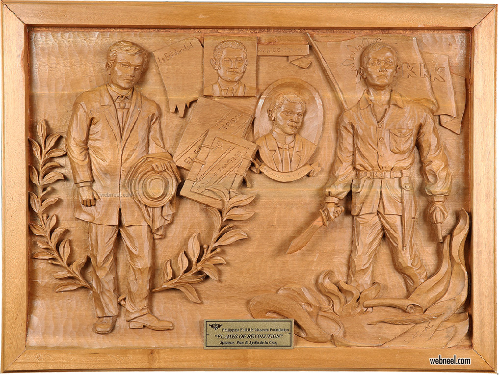 bas relief low sculpture on wood from phillipine museum