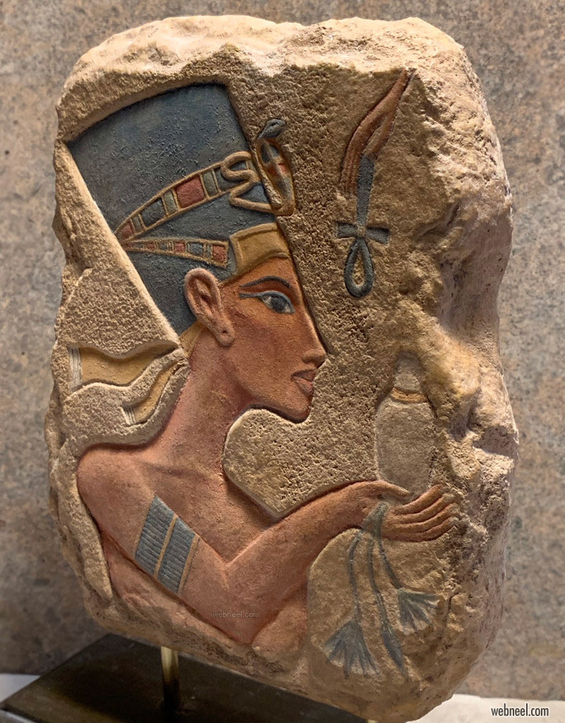 sunken relief sculpture egypt nefertiti amarna