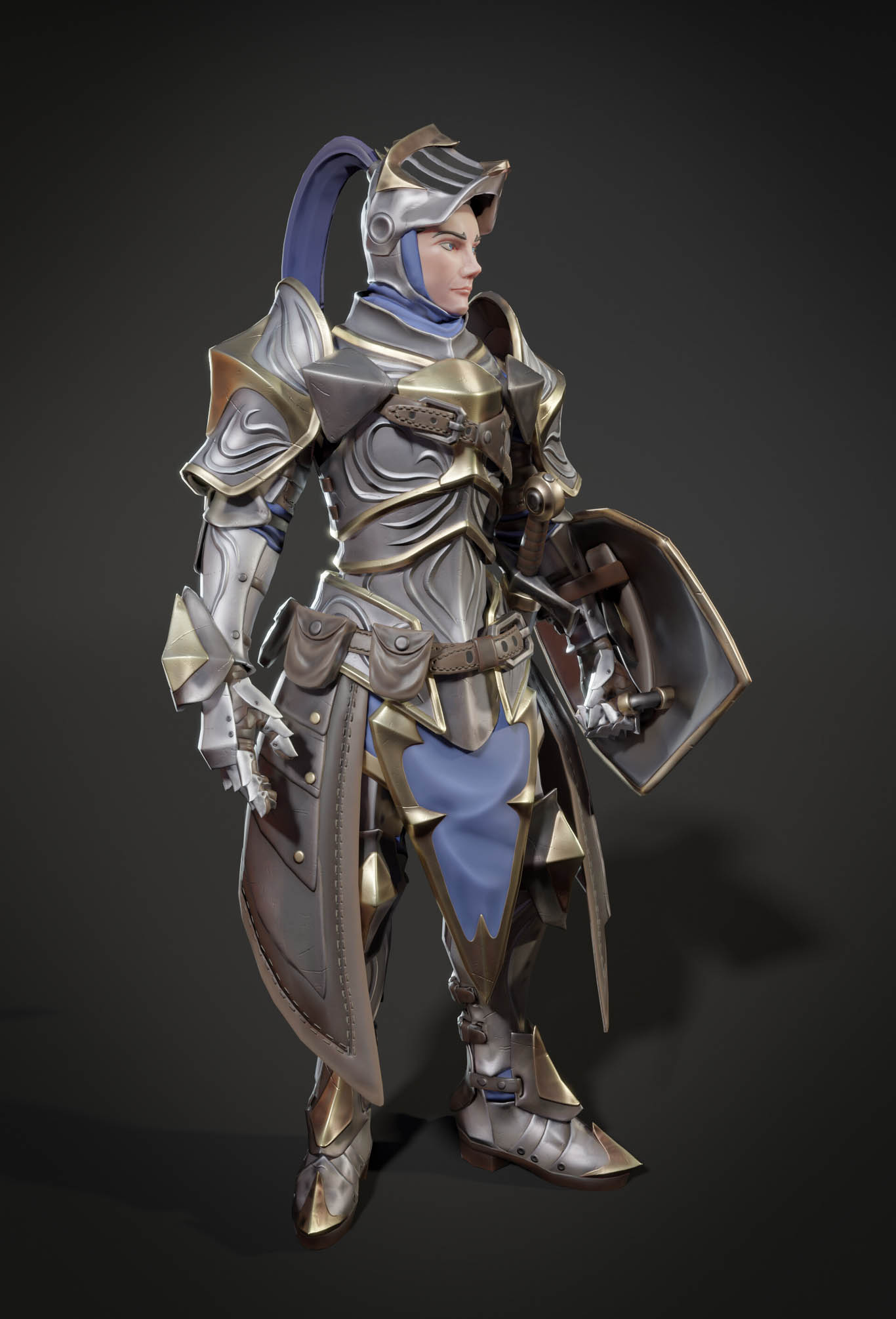 3d model stylized knight game