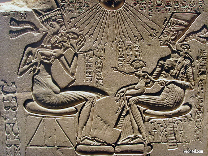 sunken relief sculpture akhenaten nefertiti and their children