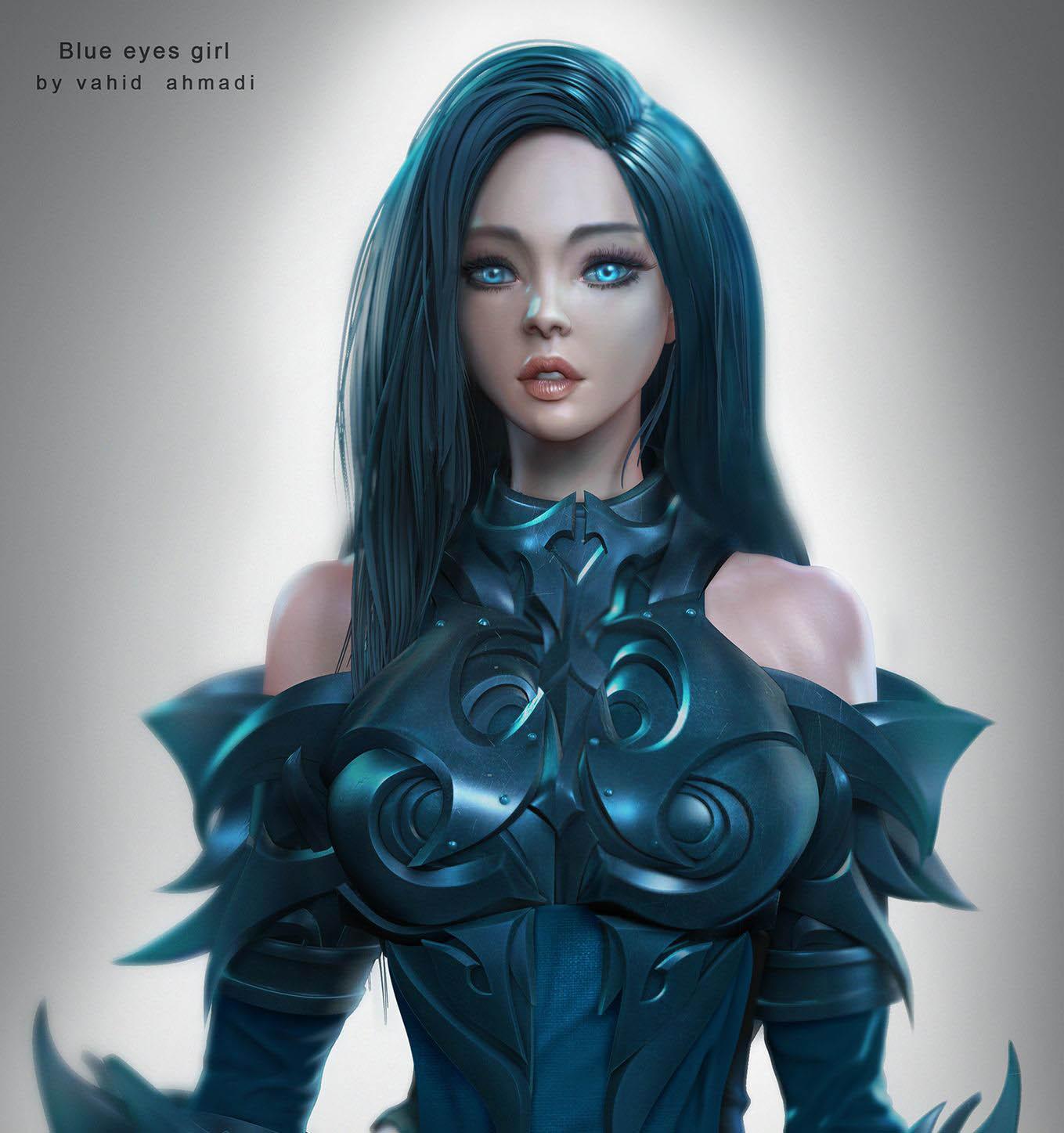 3d model blue eyes girl by vahid ahmadi