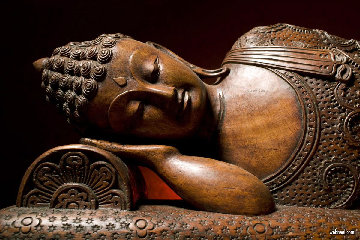 wood carving sculpture buddha