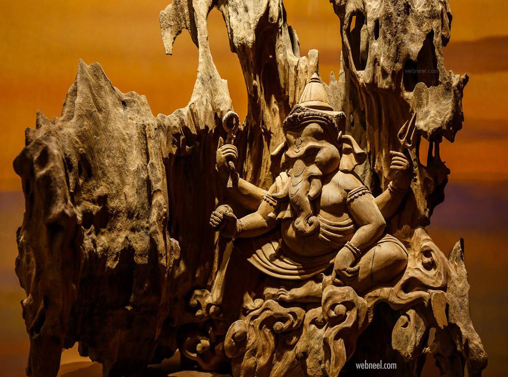 wood carving sculpture ganesh hindu god