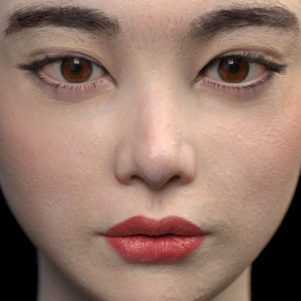 3d model young girl face close up by vahid ahmadi