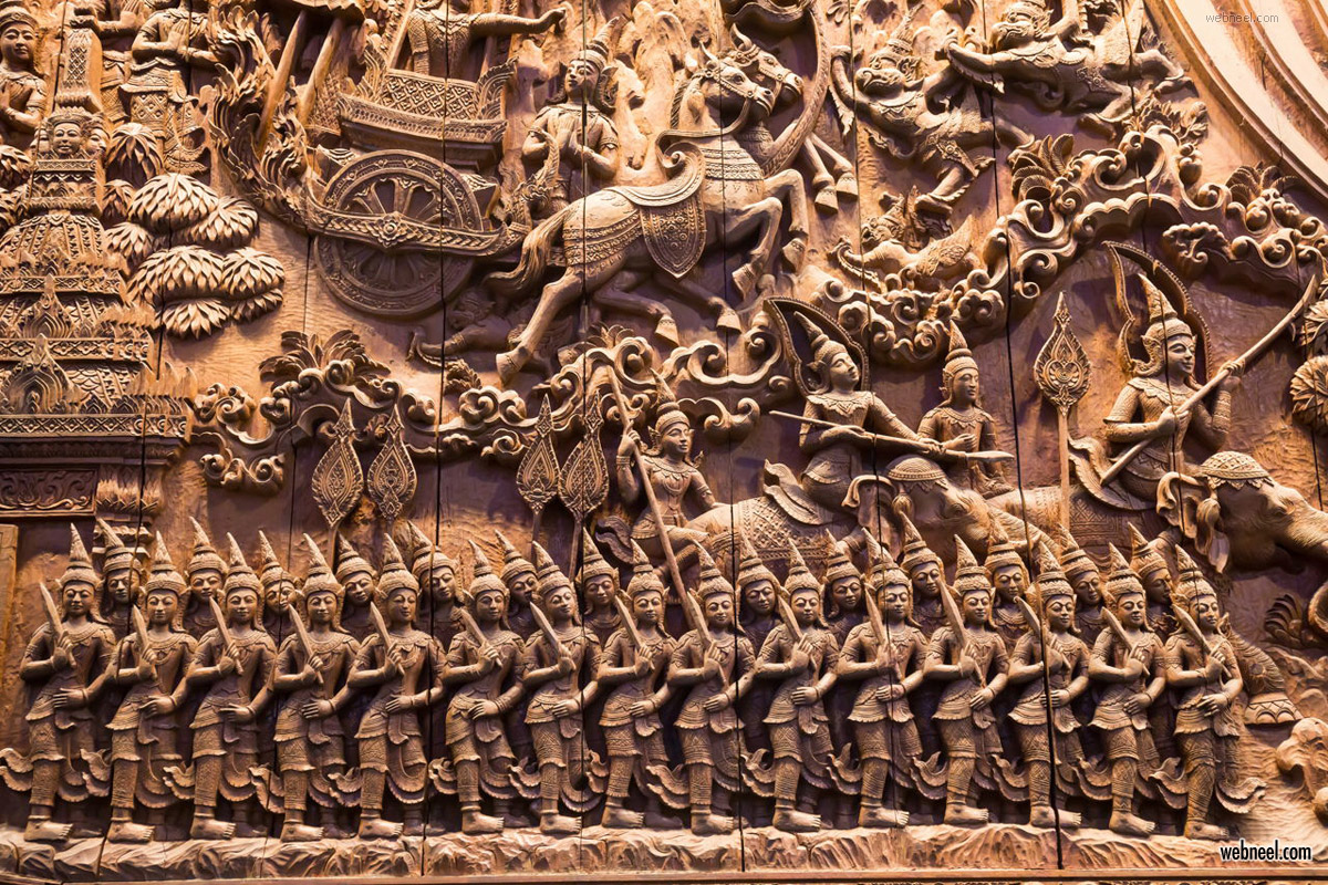 high relief sculpture wood carving mythology character