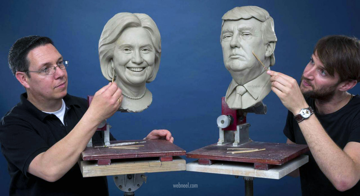 modeled sculpture in wax donald trump hillary clinton