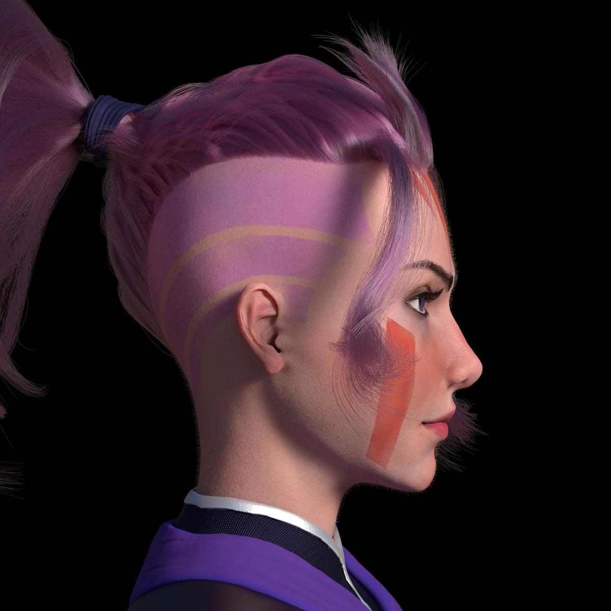 3d model purple hair woman by enkhbayarldr