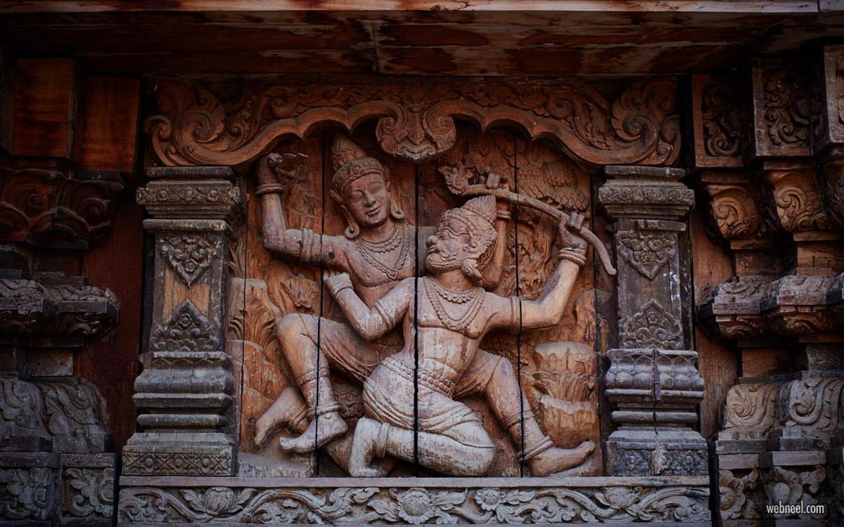 high relief sculpture vishnu wood