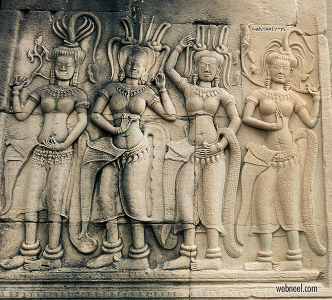 bas relief sculpture woman dance angkor combodia