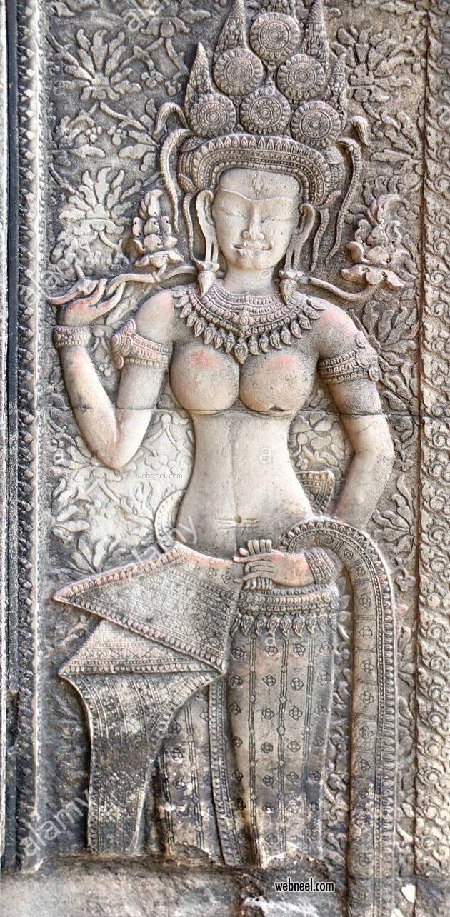 bas relief low woman apsara famous angkor wat cambodia