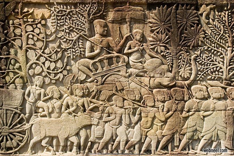 bas relief khmer soldiers war