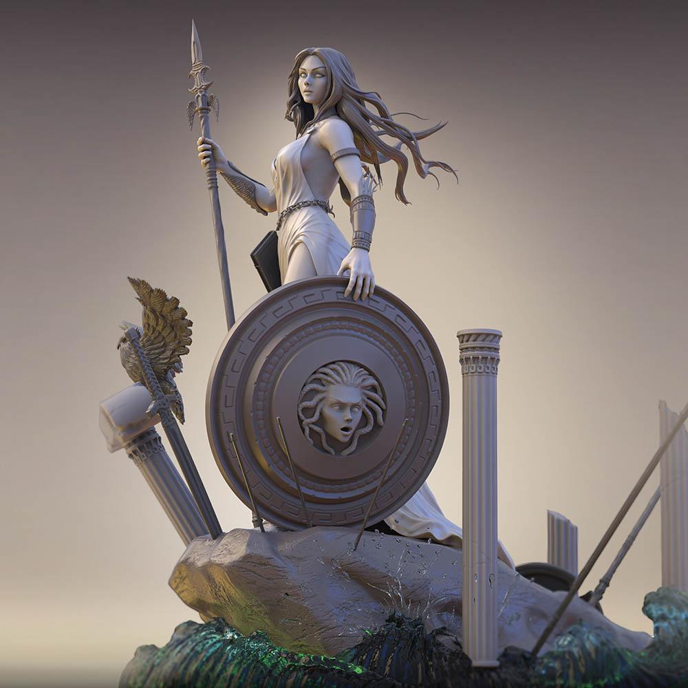 3d model athena goddess chariot