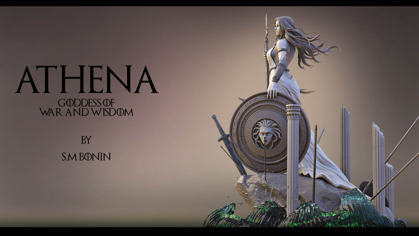 3d model athena goddess war wisdom by sm bonin