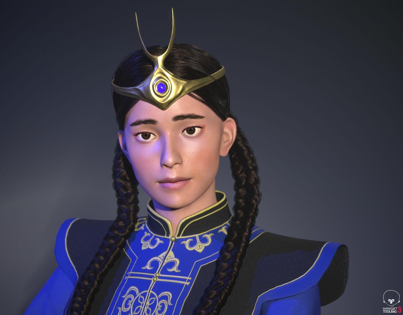 3d model blue warrior by enkhbayarldr
