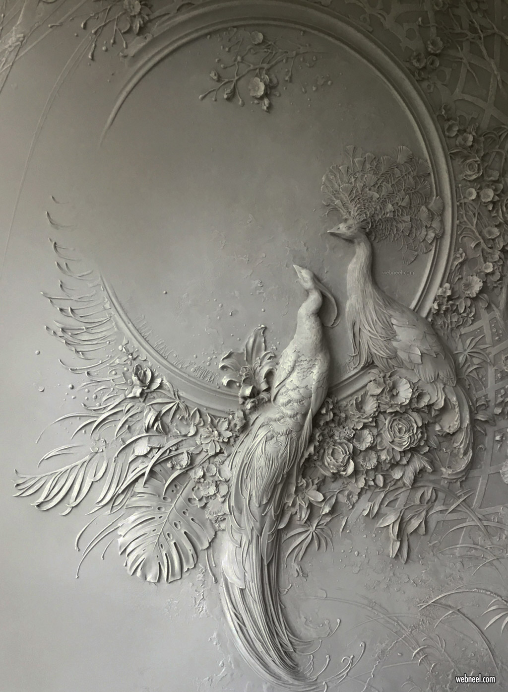bas relief low sculpture interior peacock by goga tandashvili