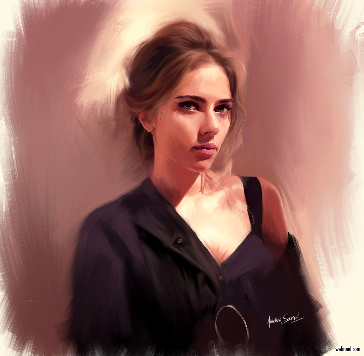 digital painting scarlett johansson american actress singer by abhishek samal