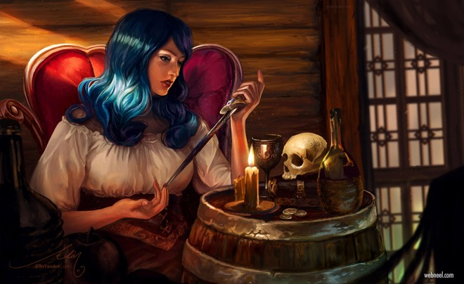digital painting woman night skull by elint