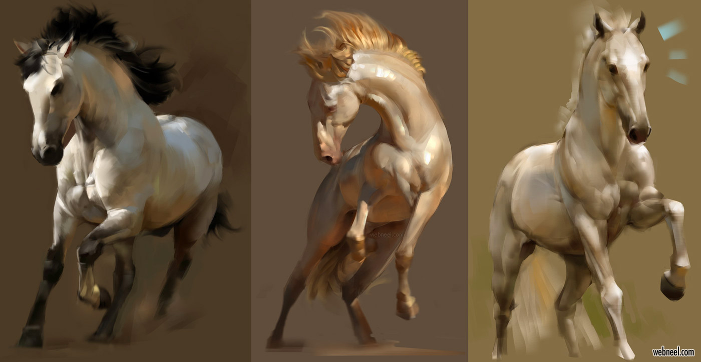 horse digital painting by chen longfei