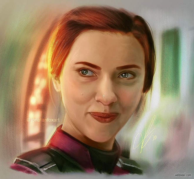 painting scarlett johansson american actress and singer by jonatanfoxart