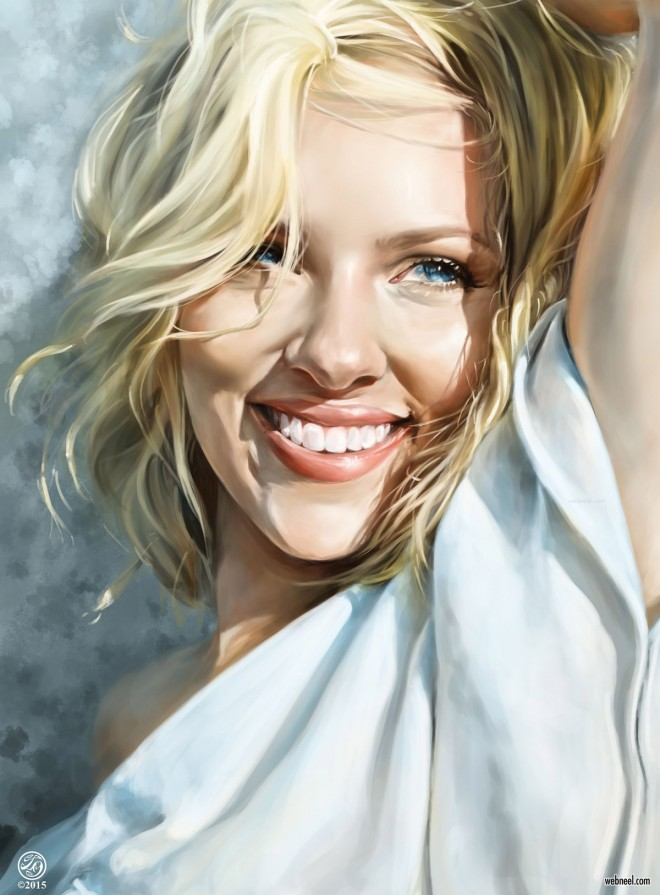 portrait painting scarlett johansson american actress by catherine steuer