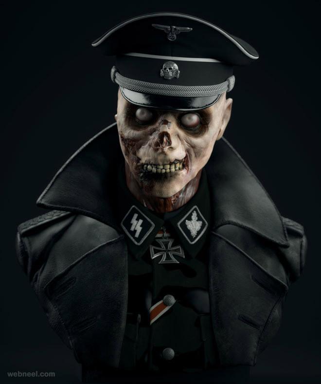 3d monster skull