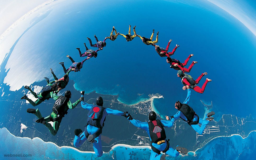 amazing photography parachute jump