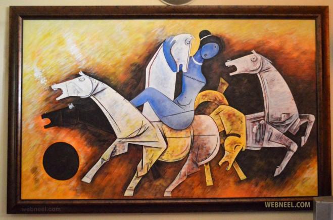 beautiful horses mf husain painting
