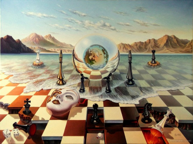 chess surreal art by ohmuller gyuri