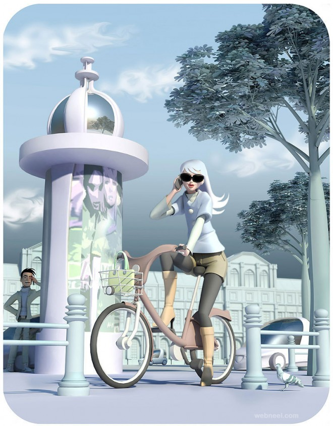 3d girl bicyle character by mattroussel