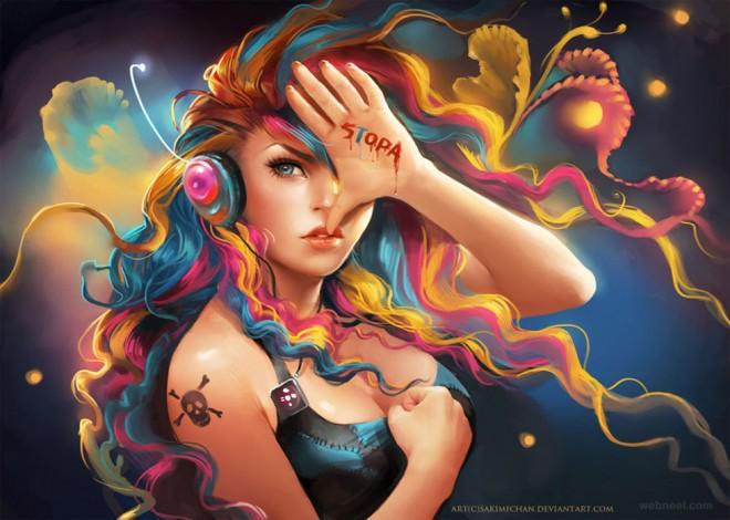 woman fantasy digital art by sakimichan