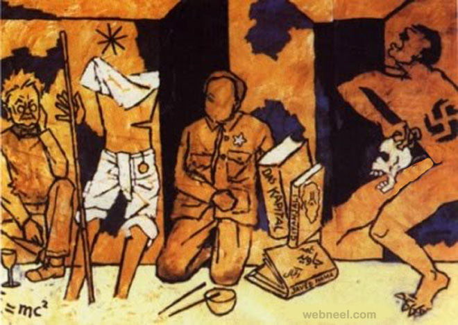 mahatma gandhi mf husain painting