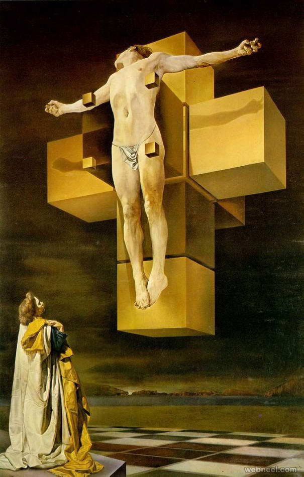crucifixion surreal paintings by salvador dali