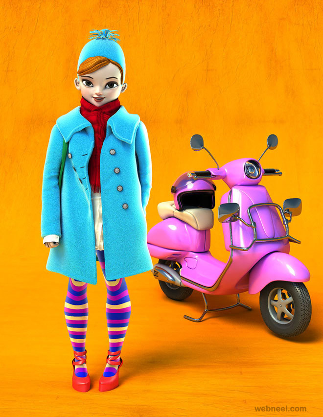 3d girl scooter character by mattroussel