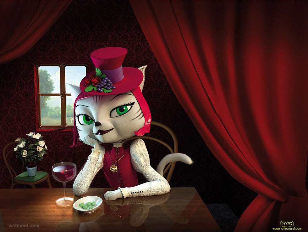 3d cat lady character