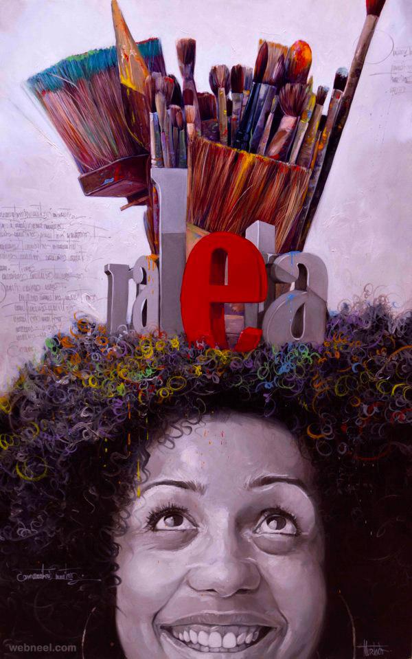 oil painting portrait by yunior hurtado