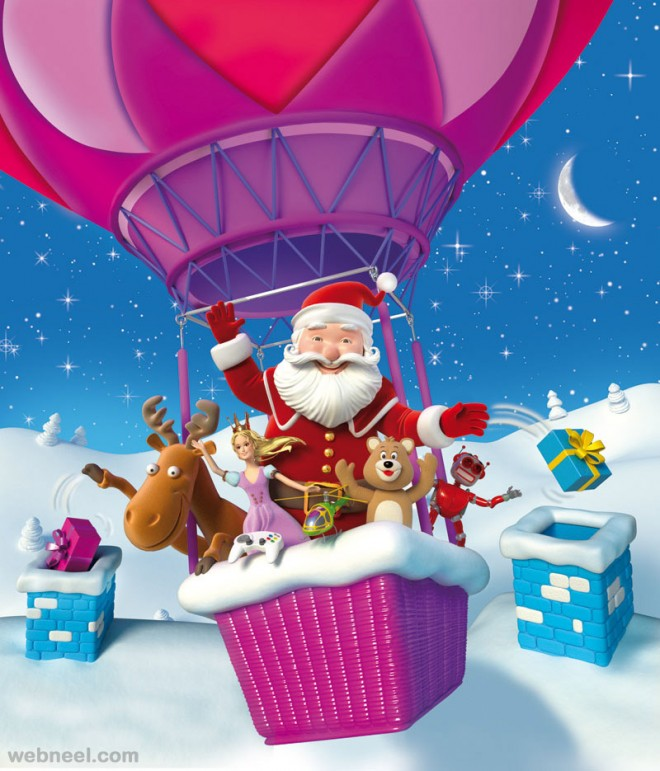 3d santa claus christmas character by mattroussel